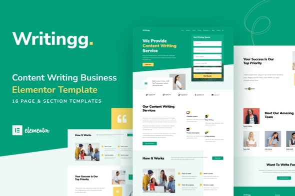 Writingg - Content Copywriting Services Elementor Template Kit - Business & Services Elementor