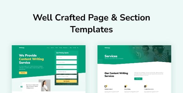 Writingg - Content Copywriting Services Elementor Template Kit