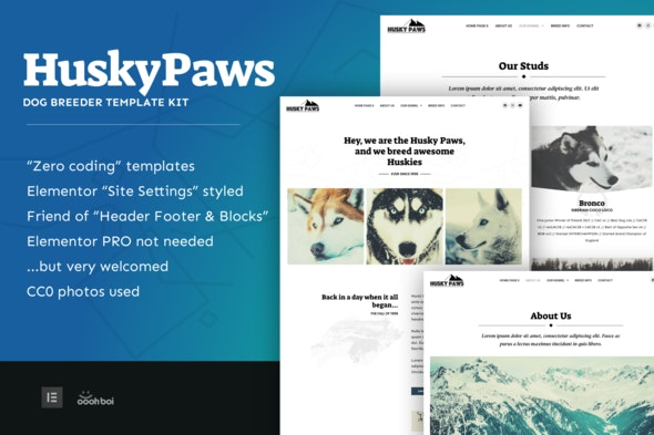 HuskyPaws - Dog Breeder Elementor Template Kit - Business & Services Elementor