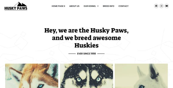 HuskyPaws - Dog Breeder Elementor Template Kit