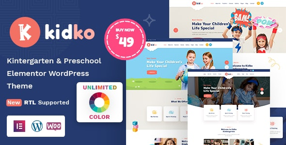 Kidko - Kindergarten & Baby Care WordPress Theme + RTL - Education WordPress