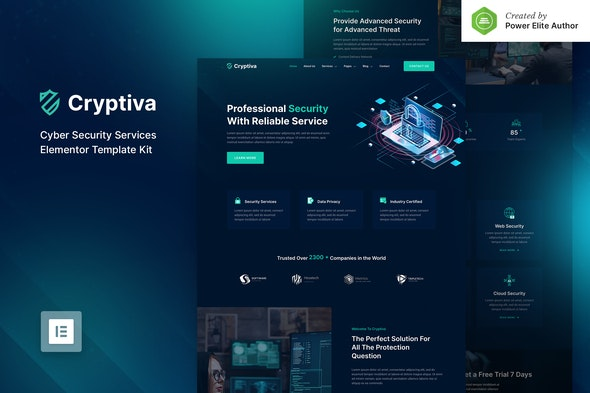 Cryptiva – Cyber Security Services Elementor Template Kit - Business & Services Elementor