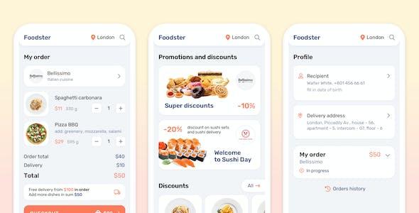 Foodster – Food Delivery & Restaurant App Sketch Template