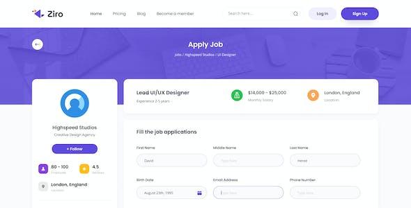 Ziro - Freelancer Directory Website Design Template XD