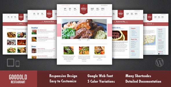 Goodold Restaurant - Responsive WordPress Theme - Restaurants & Cafes Entertainment