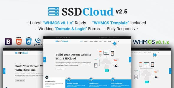 SSDCloud   Multipurpose Hosting with WHMCS and Technology Business Template