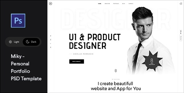 Miky - Personal portfolio PSD Template - Portfolio Creative