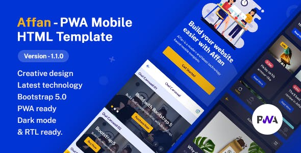 Affan - PWA Mobile HTML Template