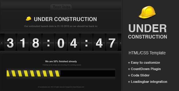 Under construction CountDown template - Under Construction Specialty Pages