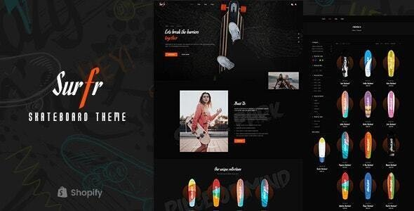 Surfr - Skateboard Single Product Shopify Theme Preview - ThemeForest