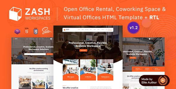 Zash - Office Rental & Coworking Space Bootstrap 5 Template