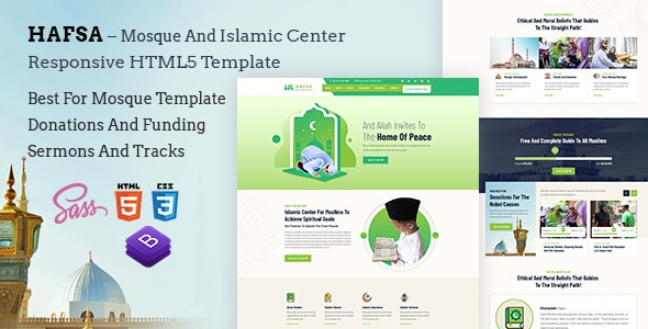Hafsa – Islamic Center  Responsive HTML5 Template - Churches Nonprofit