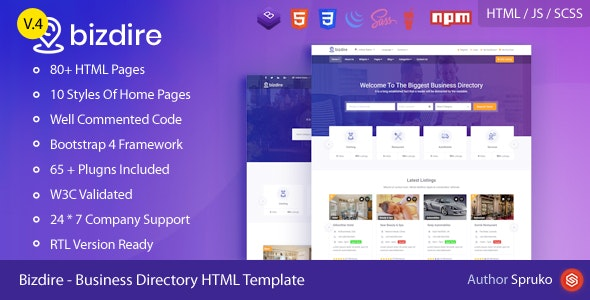 Bizdire – Business Directory HTML Template - Site Templates