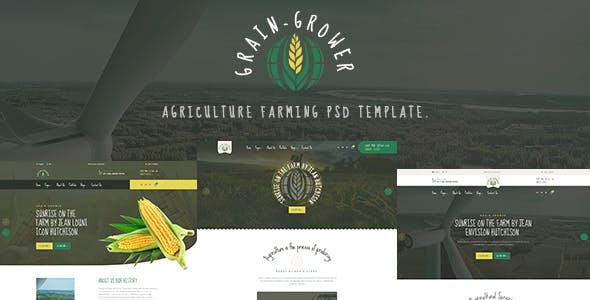 Grain Grower - Agriculture Farm & Farmers PSD Template
