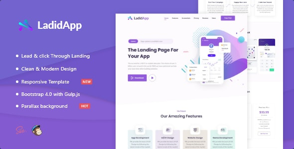 LadidApp - App HTML Landing Page Template - Apps Technology