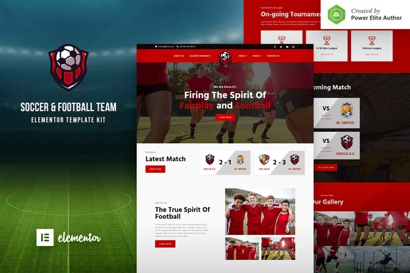 Socca – Football Team  & Sports Club Elementor Template Kit - Sport & Fitness Elementor