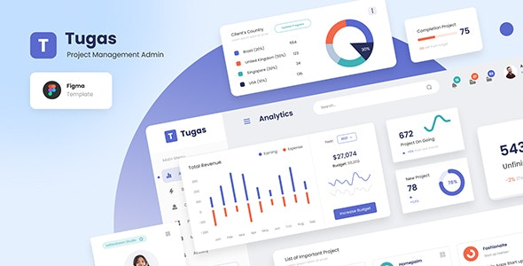 Tugas - Project Management Admin Dashboard Figma Template - Miscellaneous Figma
