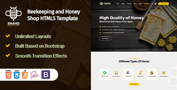 Shahd - Beekeeping and Honey Shop HTML5 Template - Food Retail