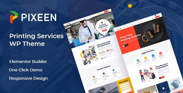 Pixeen - Printing Services Company WordPress Theme + RTL - Business Corporate