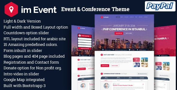 imEvent - Conference Meetup WordPress Theme - Marketing Corporate