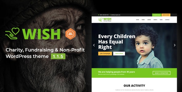 Wish - Charity WordPress Theme - Charity Nonprofit