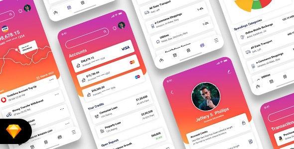 Diologic - E-Wallet Mobile App UI Kit - Business Corporate