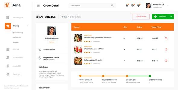 Uena - Restaurant Food Admin Dashboard Template