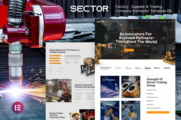 Sector – Factory Industry & Trading Company Elementor Template Kit - Business & Services Elementor