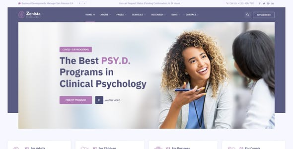 Zenista - Psychology & Counseling WordPress Theme