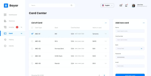 Bayar - Simple Personal Banking Admin Dashboard Figma Template