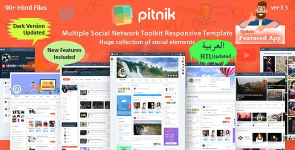 Pitnik - Social Network Social Media Community UI Toolkit Responsive Template - Personal Site Templates