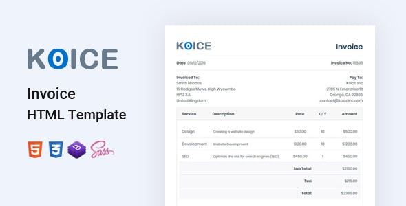 Invoice HTML Template - Koice