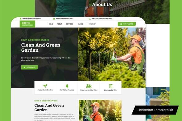 Gnome - Lawn & Garden Care Services Elementor Template Kit - Business & Services Elementor