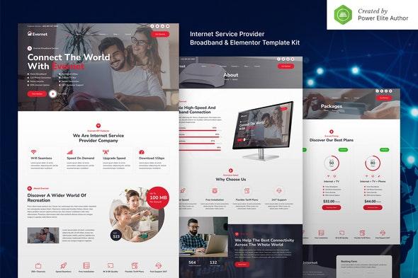 Evernet – Broadband & Internet Service Provider Elementor Template Kit - Technology & Apps Elementor