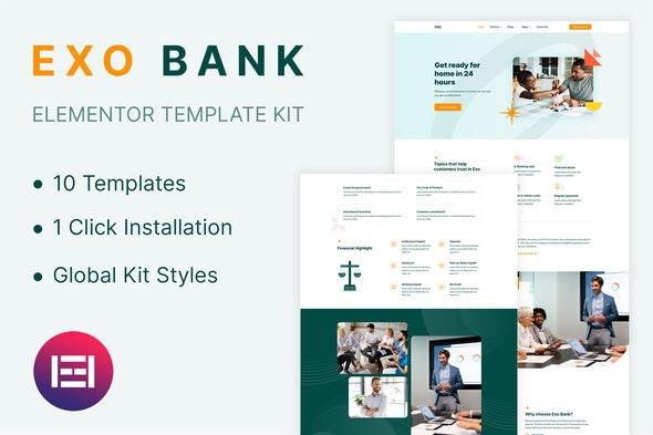 Exobank - Financial Elementor Template Kit - Business & Services Elementor