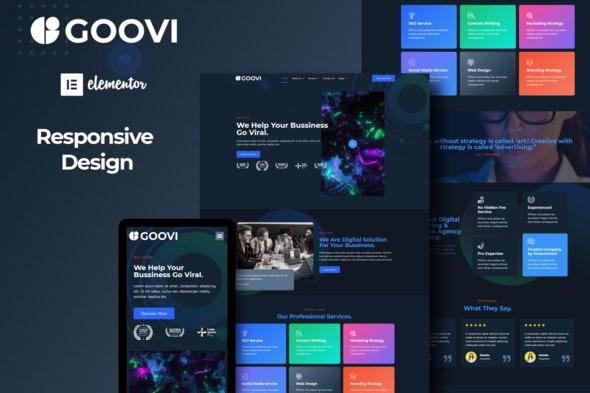 Goovi - Creative Agency & Digital Marketing Elementor Template Kits - Business & Services Elementor