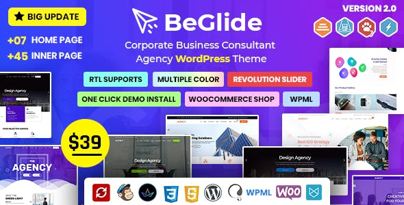 BeGlide: Corporate Business Consultant Agency WordPress Theme