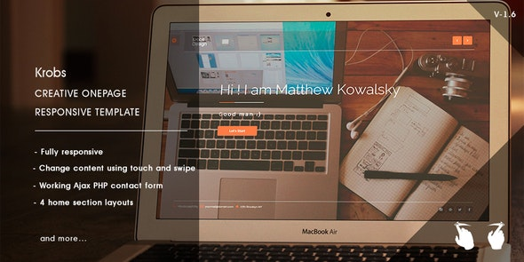 Krobs - Personal  Onepage Responsive Template - Personal Site Templates