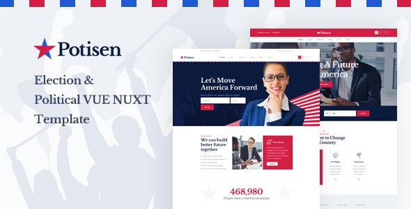 Potisen - Election & Political Vue Nuxt Template - Political Nonprofit