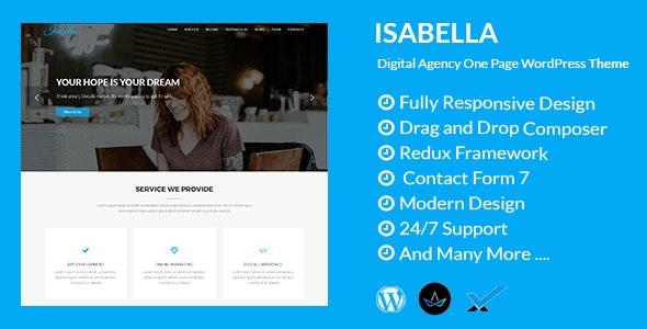Isabella - Digital Agency One Page WordPress Theme - Technology WordPress
