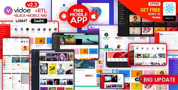VIDOE - Video Streaming Website HTML, React Template - Entertainment Site Templates