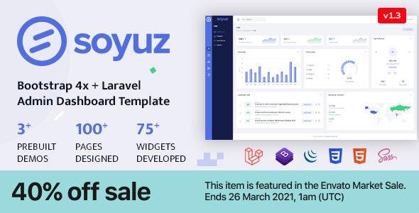 Soyuz - Bootstrap 4x + Laravel Minimal & Clean Admin Template - Admin Templates Site Templates