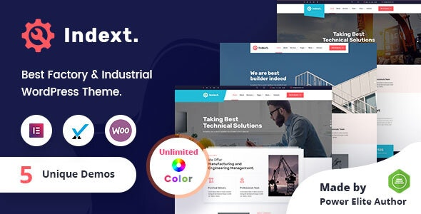 Indext - Industrial Business WordPress Theme + RTL - Business Corporate
