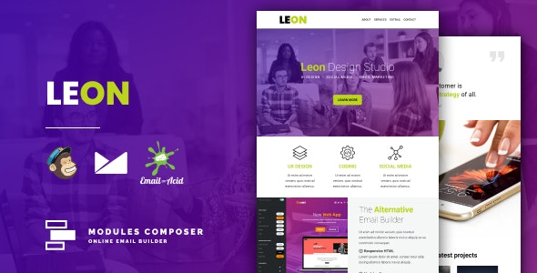 Leon - Responsive Email for Agencies, Startups & Creative Teams with Online Builder - Newsletters Email Templates