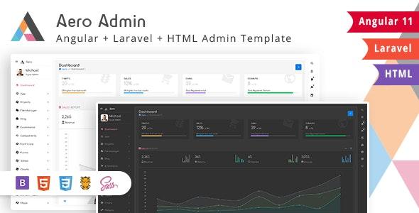 Aero - Bootstrap Admin Template with Laravel & Angular version - Admin Templates Site Templates