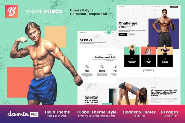 Shape Force - Fitness & Gym Elementor Template Kit - Sport & Fitness Elementor
