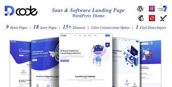 DCode - SaaS Landing Page WordPress Theme - Software Technology