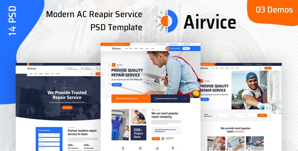 Airvice - AC Repair Services PSD Template - Business Corporate
