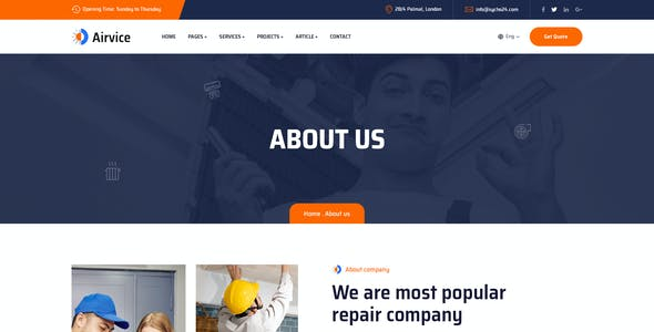 Airvice - AC Repair Services PSD Template
