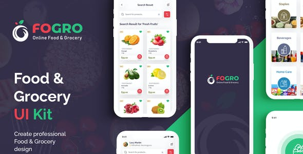 FOGRO | Food & Grocery App UI Kit for Adobe XD